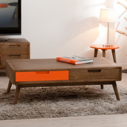 Table basse 2 tirois bois et orange Mora