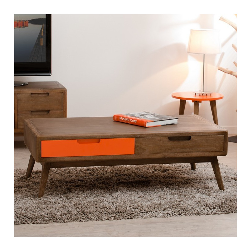 table basse 2 tirois bois et orange mora so inside. Black Bedroom Furniture Sets. Home Design Ideas