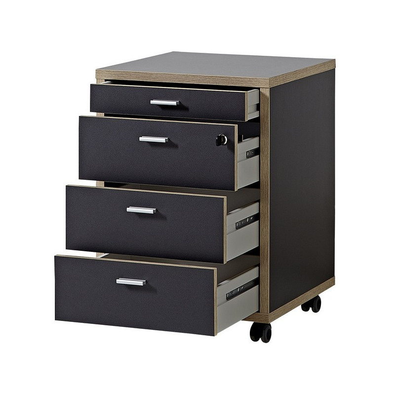 caisson de bureau gris et bois sur roulettes rita so inside. Black Bedroom Furniture Sets. Home Design Ideas