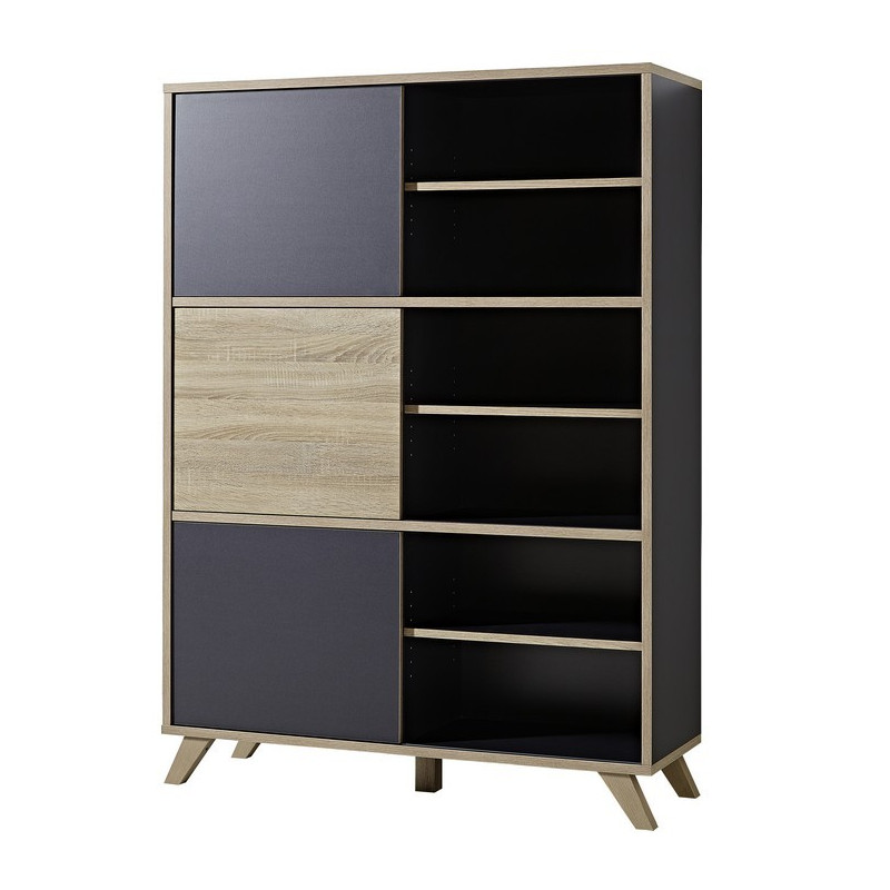 armoire de bureau haute grise et bois l 120cm rita so. Black Bedroom Furniture Sets. Home Design Ideas