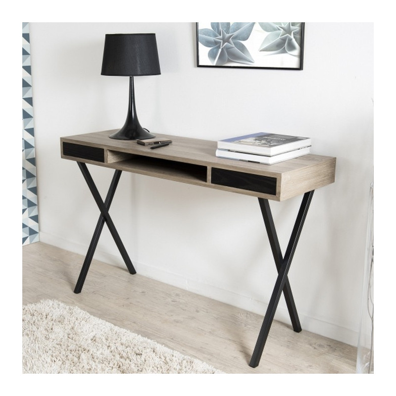 console 120x40cm avec tiroirs pieds crois s m tal sveg so inside. Black Bedroom Furniture Sets. Home Design Ideas