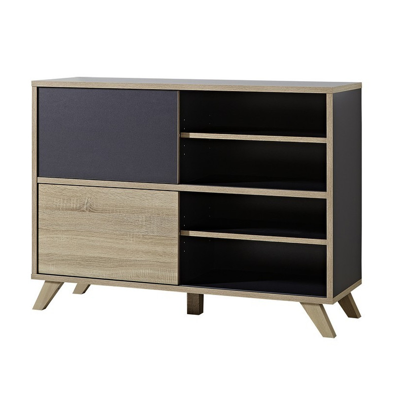 armoire de bureau basse bois et gris l 120cm rita so inside. Black Bedroom Furniture Sets. Home Design Ideas