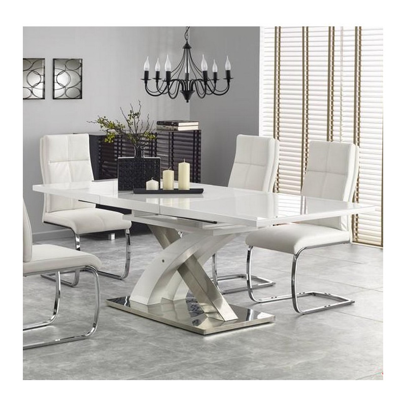 Table salle a manger design blanc laqu extensible 220cm x for Table a manger avec rallonge integree