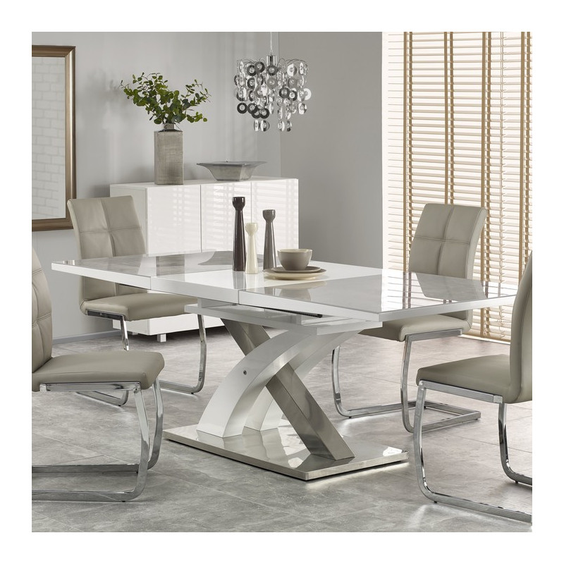 Table a manger grise et blanc design extensible 220cm x 90cm flora - Table de salle a manger grise ...