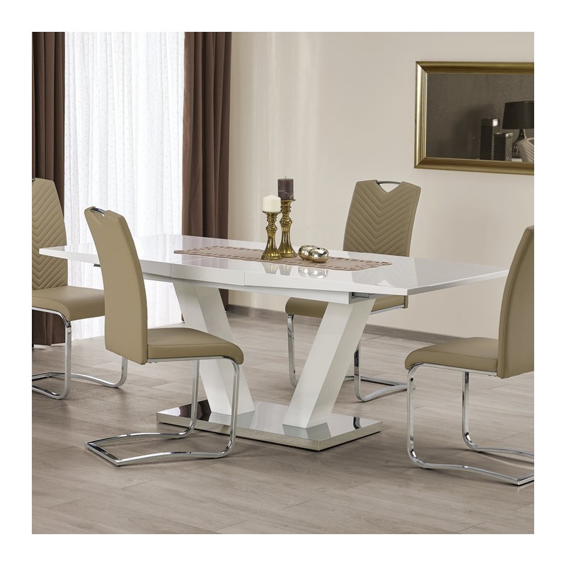 Table a manger extensible blanc laqu design pied en v vlada for Table de salle a manger blanche