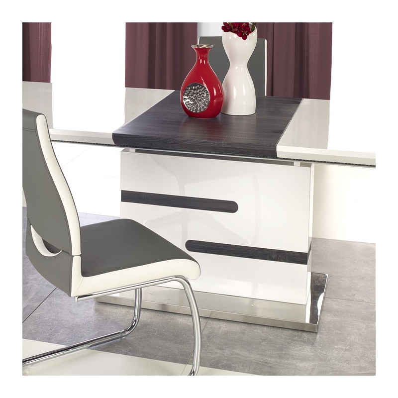 best table a manger blanche et grise contemporary. Black Bedroom Furniture Sets. Home Design Ideas