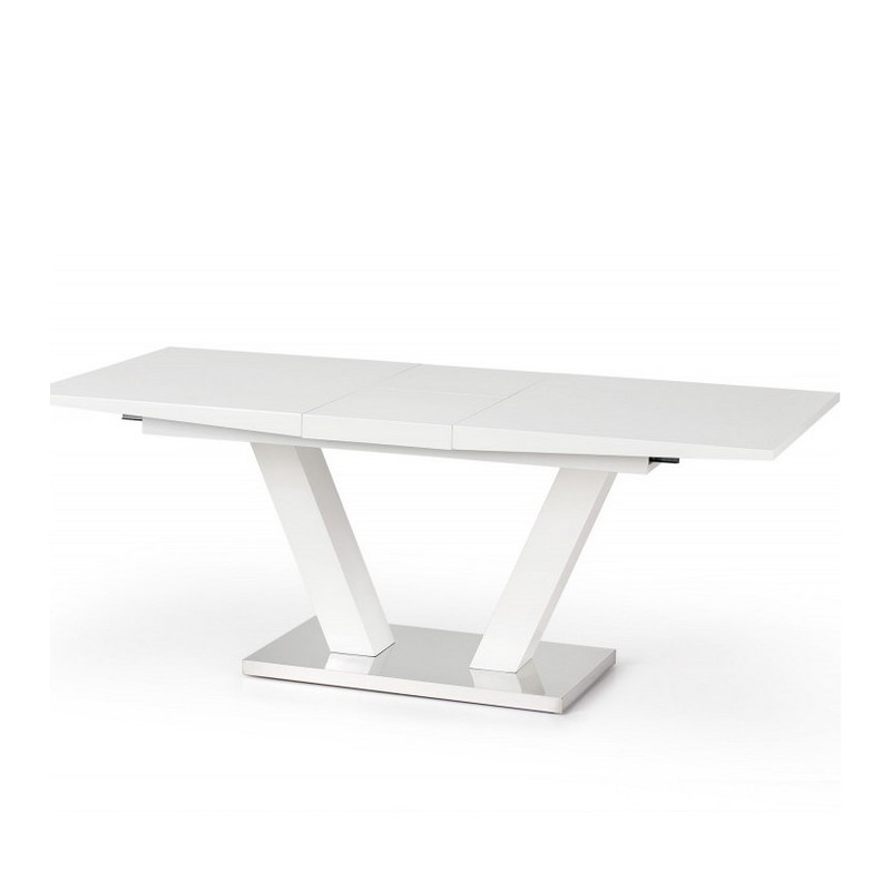 Table a manger extensible blanc laqu design pied en v vlada - Pied de table original ...