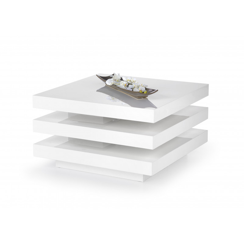Table basse carr blanc laqu cari tables basses design noir et blanc - Table basse carre laque blanc ...