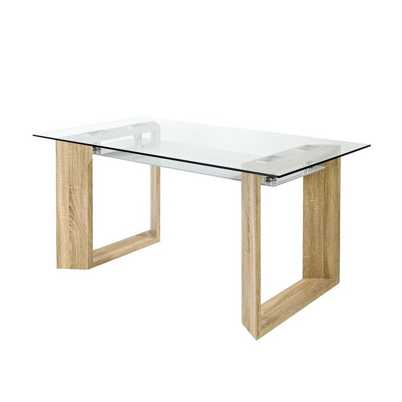 Table manger plateau en verre 160x90cm betty so inside - Table salle a manger plateau verre ...