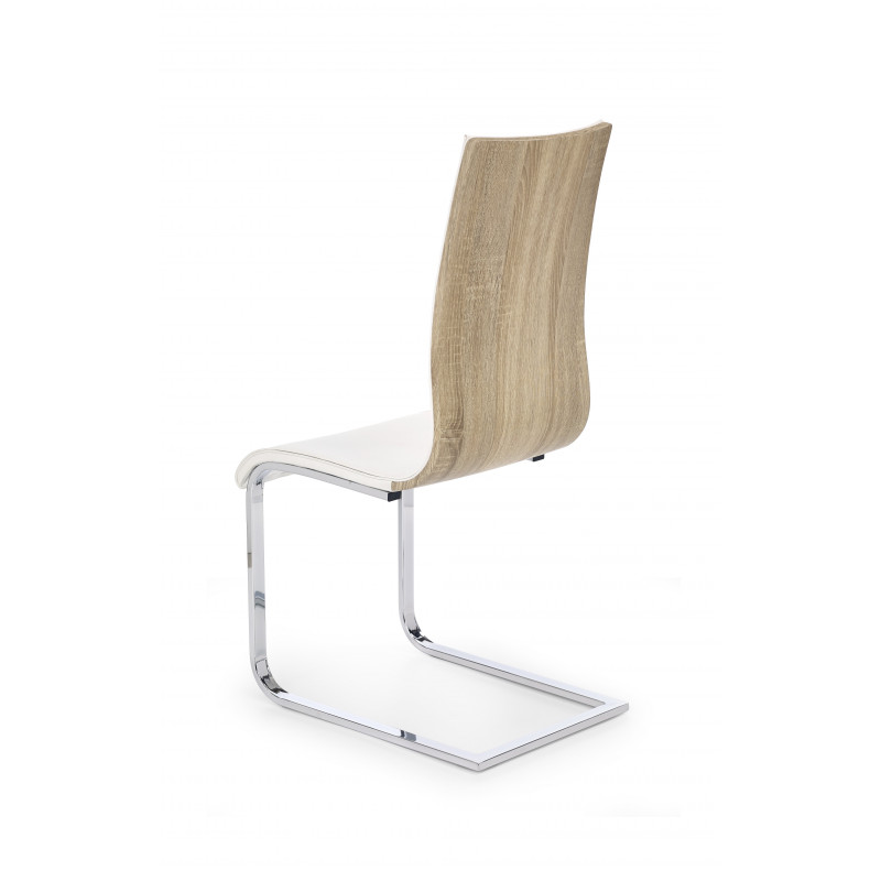 Chaise design blanche et bois luge betty so inside for Chaise blanche
