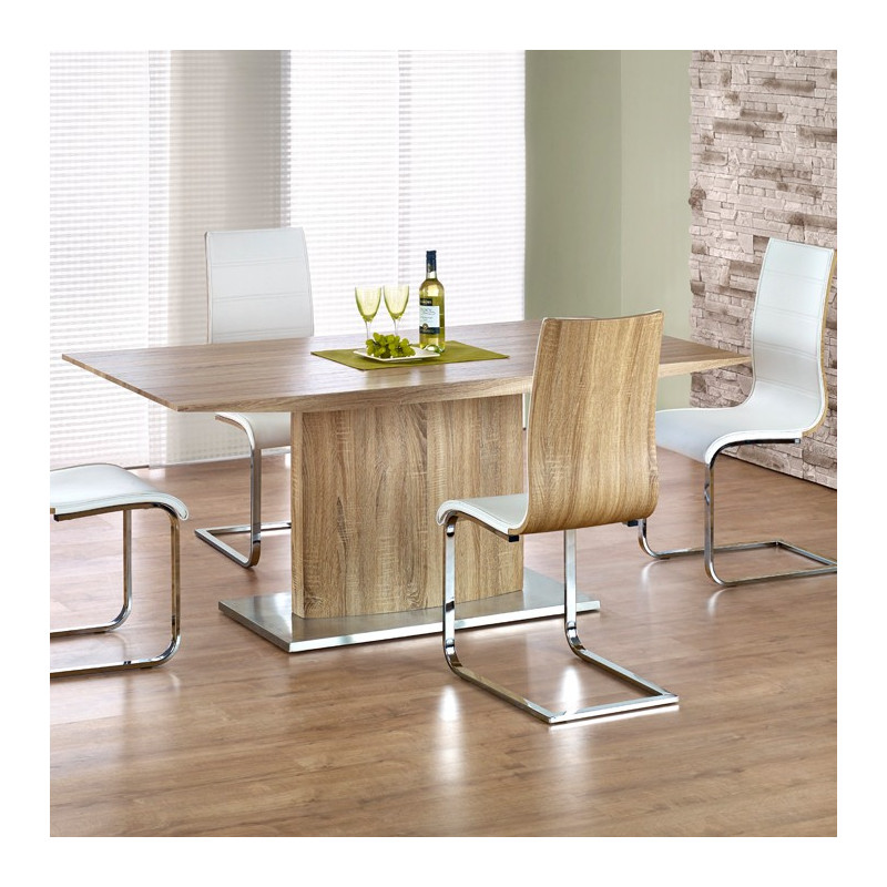 Table manger rectangulaire bois m tal aurore so inside for Table a manger rectangulaire bois