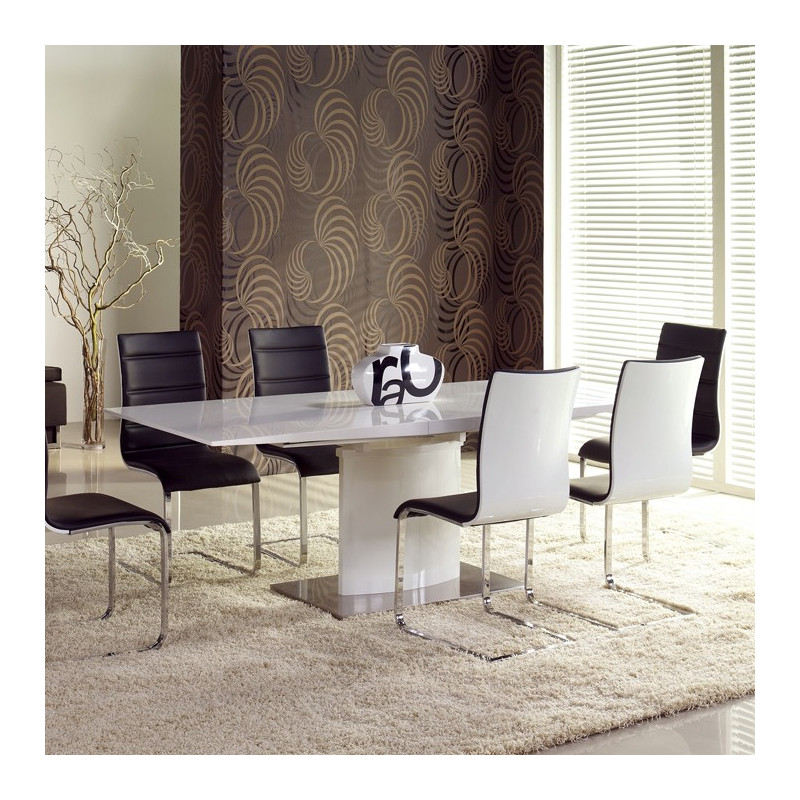 table manger rallonge blanc laqu irma so inside. Black Bedroom Furniture Sets. Home Design Ideas