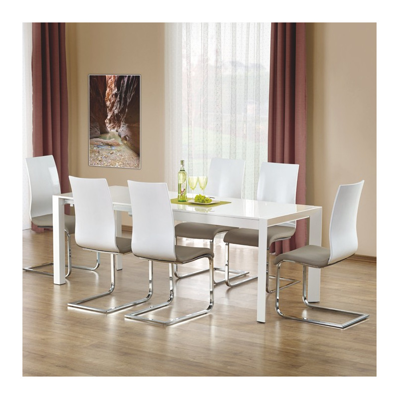 Table extensible blanc laque table extensible blanc laque - Table a manger laque blanc et bois ...