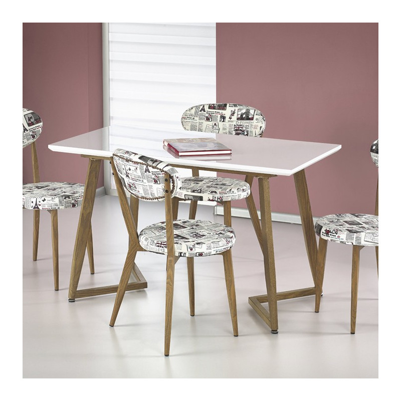 Petite table manger bois et blanc laqu rami so inside for Table a manger blanc laque