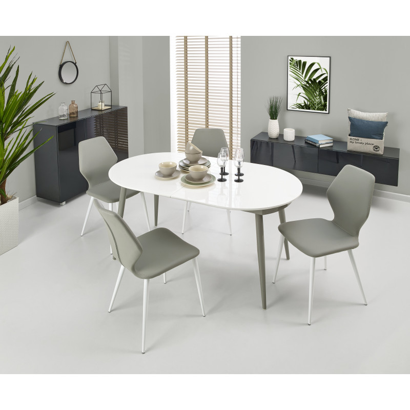 table rallonge blanche et grise bali so inside. Black Bedroom Furniture Sets. Home Design Ideas