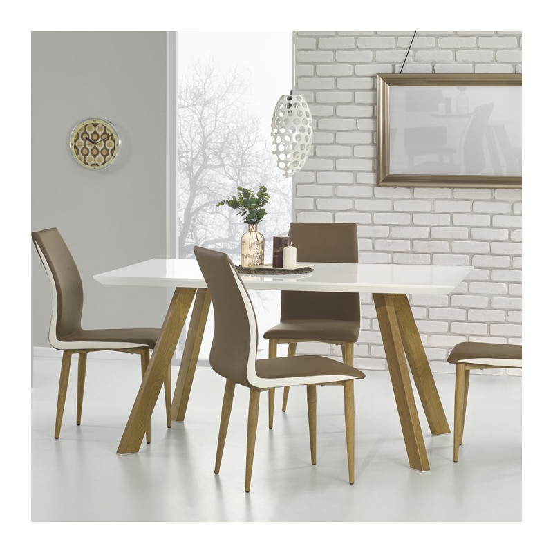 table salle a manger blanc et bois table de salle a. Black Bedroom Furniture Sets. Home Design Ideas