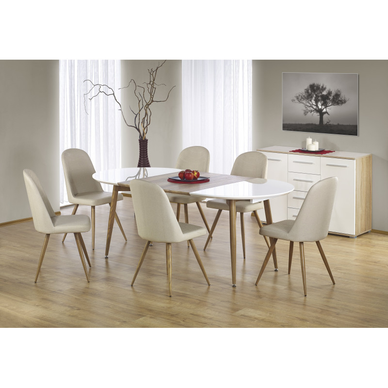 Table manger ovale extensible bois et blanc laqu miya for Table salle a manger ovale blanc