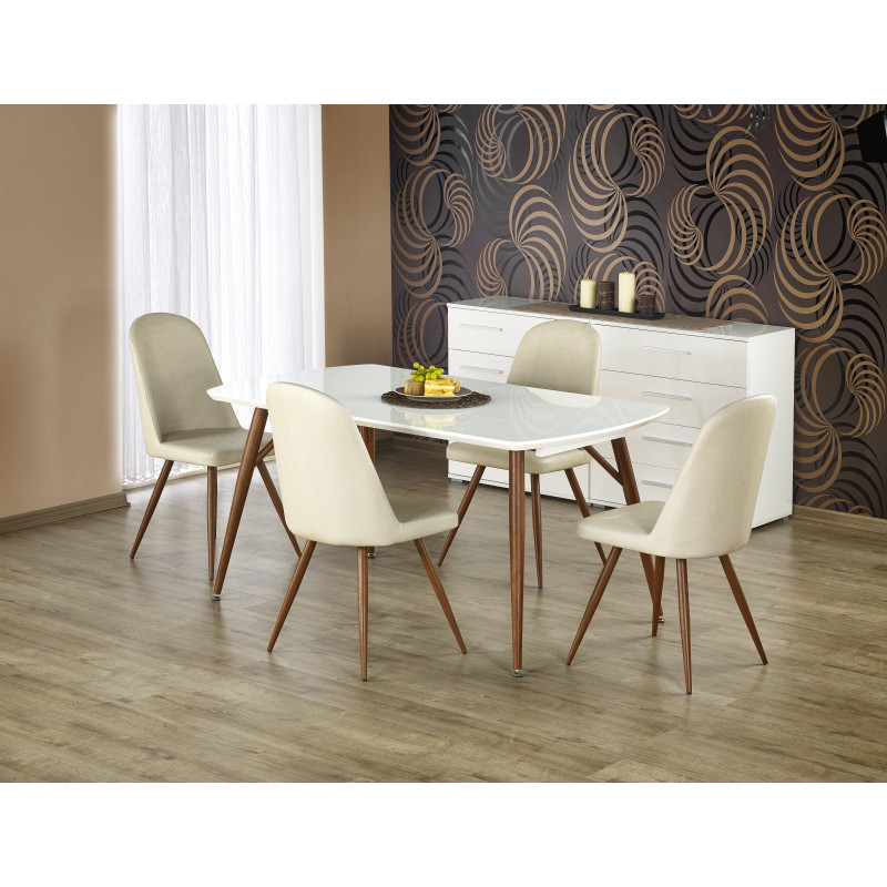 table rallonge bois fonc et blanc laqu luka so inside. Black Bedroom Furniture Sets. Home Design Ideas