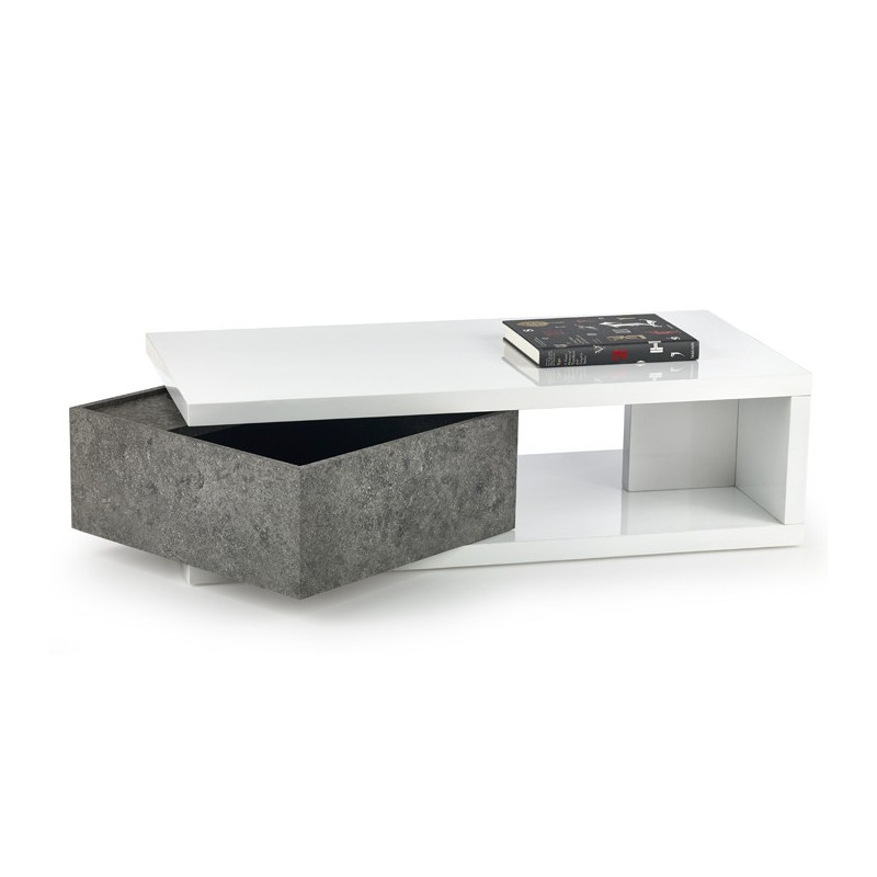 Table basse design b ton et blanc loki so inside for Table basse design blanc