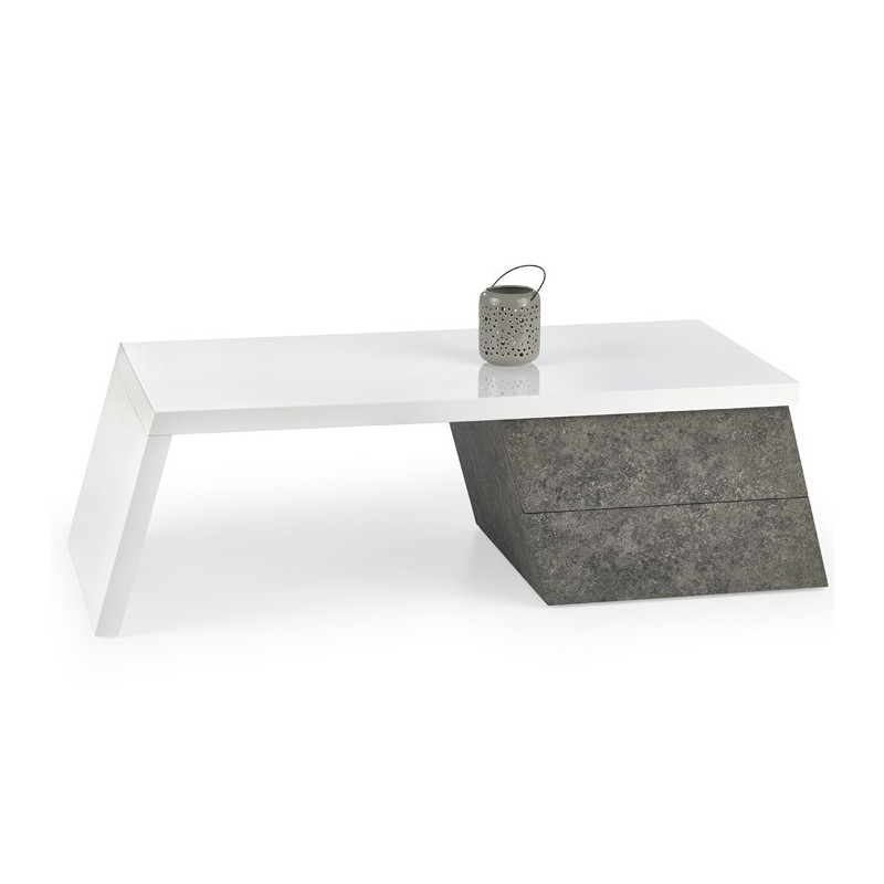 Table basse blanc laqu et gris b ton fara so inside for Table basse gris laque
