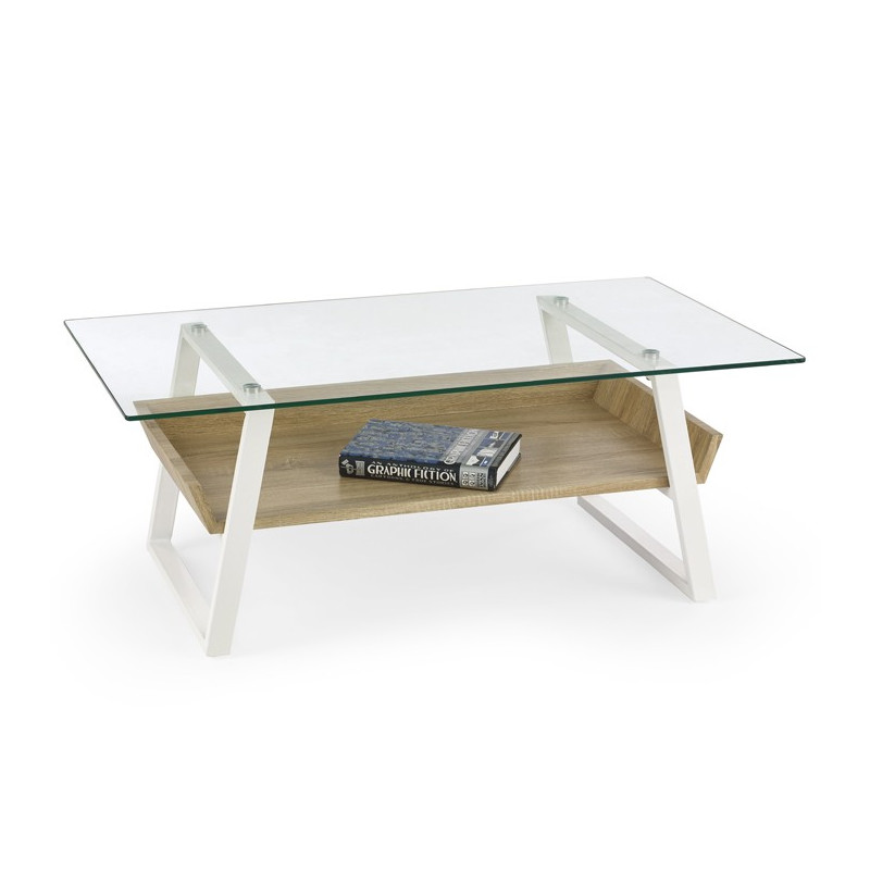 Table basse design bois et verre elea so inside for Table verre et bois