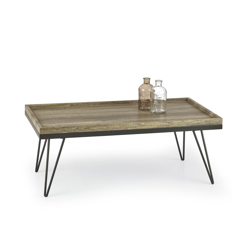 Table basse plateau bois et m tal arthur so inside for Table basse bois metal