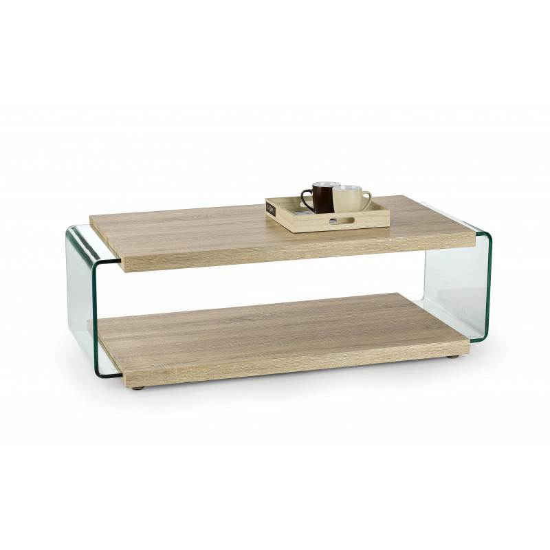 table basse double plateau bois et verre lisea so inside. Black Bedroom Furniture Sets. Home Design Ideas