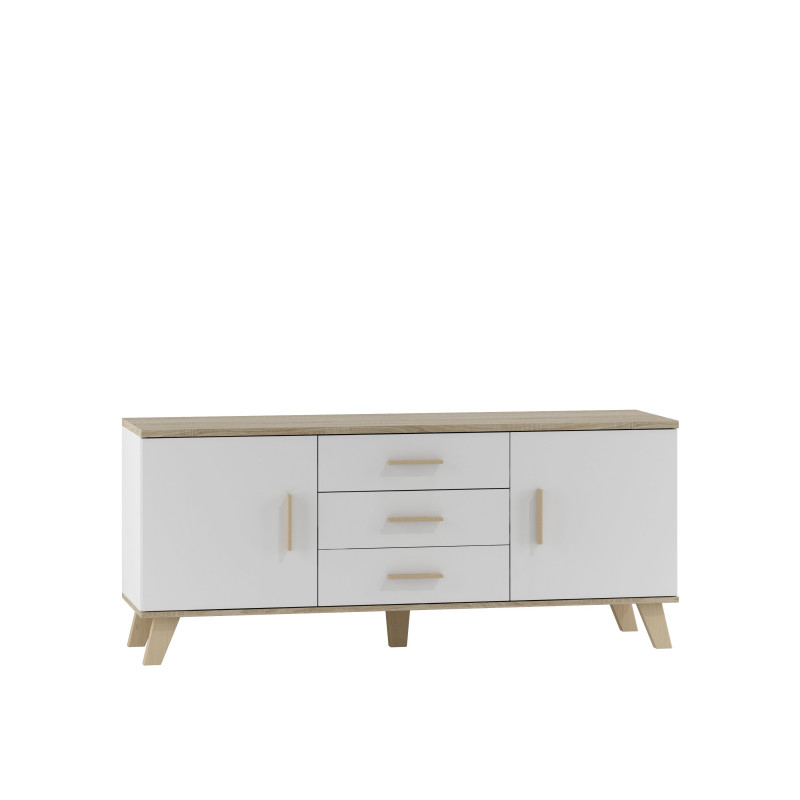 buffet moderne blanc et bois adriel so inside. Black Bedroom Furniture Sets. Home Design Ideas