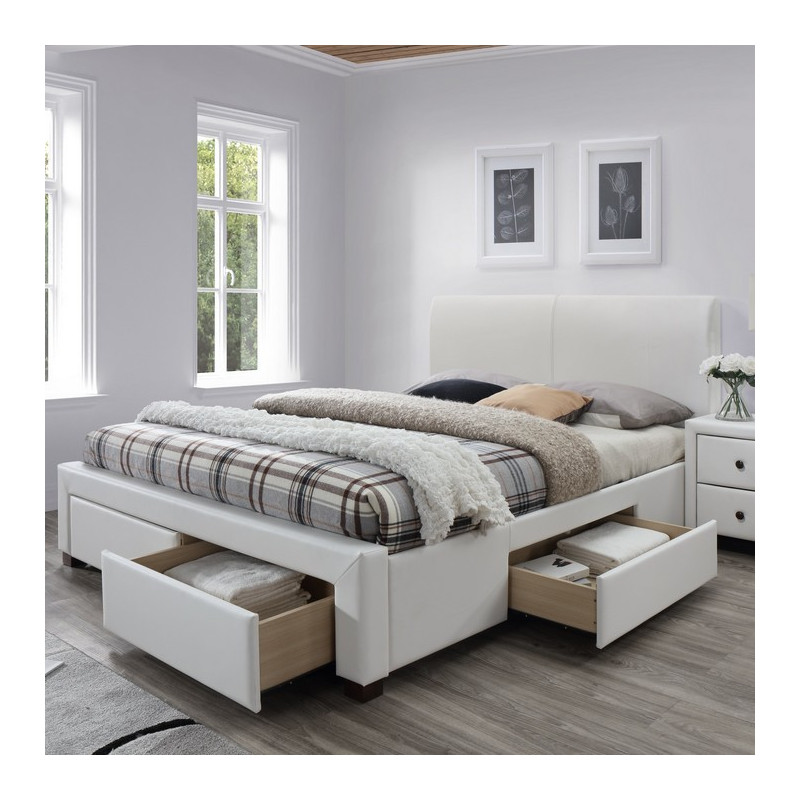 lit blanc design 160x200cm avec sommier et tiroirs mariano. Black Bedroom Furniture Sets. Home Design Ideas
