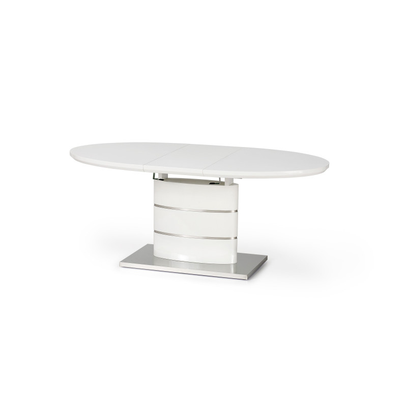 Table a manger ovale 140 180cm blanche avec rallonge ipson - Set de table ovale ...