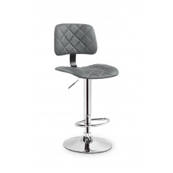 Chaise de bar design simili cuir gris Hamlet