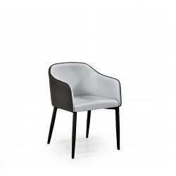 Fauteuil de table design gris Gonzague