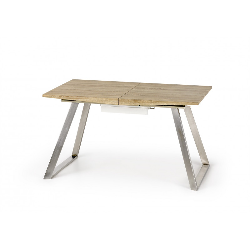 Table a manger scandinave pieds inox 130 170 x80cm plateau for Table salle a manger bois blanc