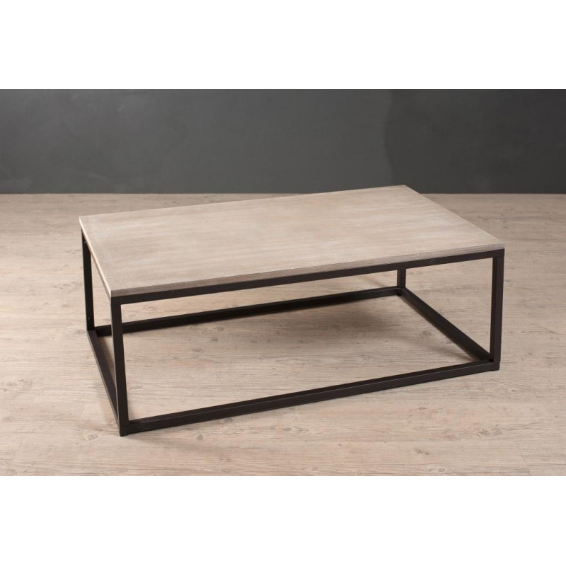 Table basse industrielle m tal et bois 115x65cm malone for Table basse industrielle metal et bois