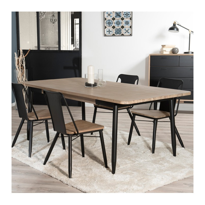 table manger industriel noir et bois olana so inside. Black Bedroom Furniture Sets. Home Design Ideas