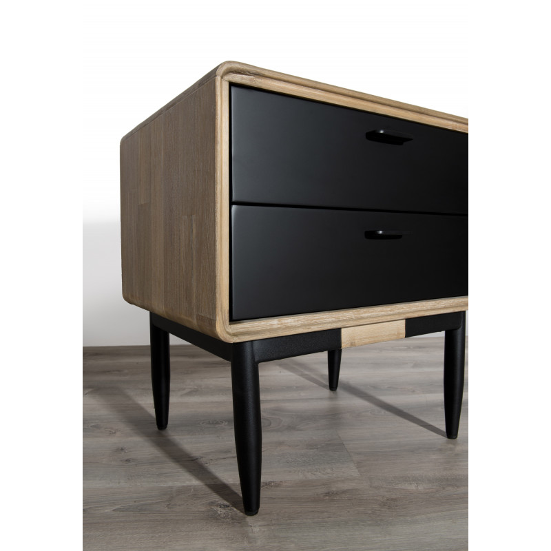 good chevet design industriel noir et bois olana with chevet industriel. Black Bedroom Furniture Sets. Home Design Ideas
