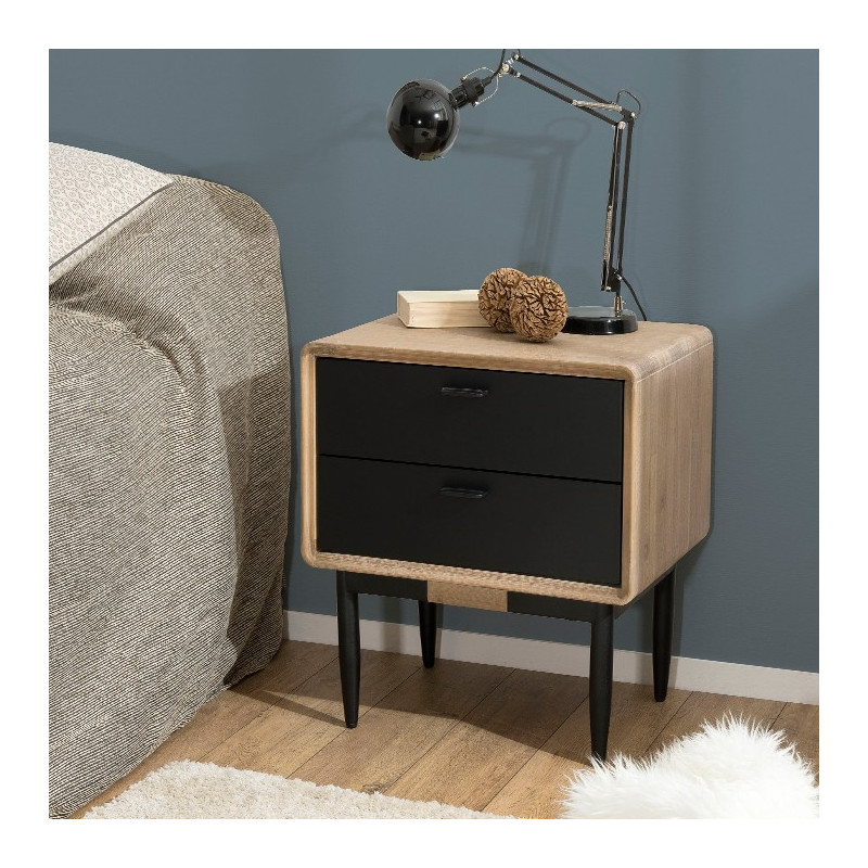 chevet industriel noir et bois olana so inside. Black Bedroom Furniture Sets. Home Design Ideas