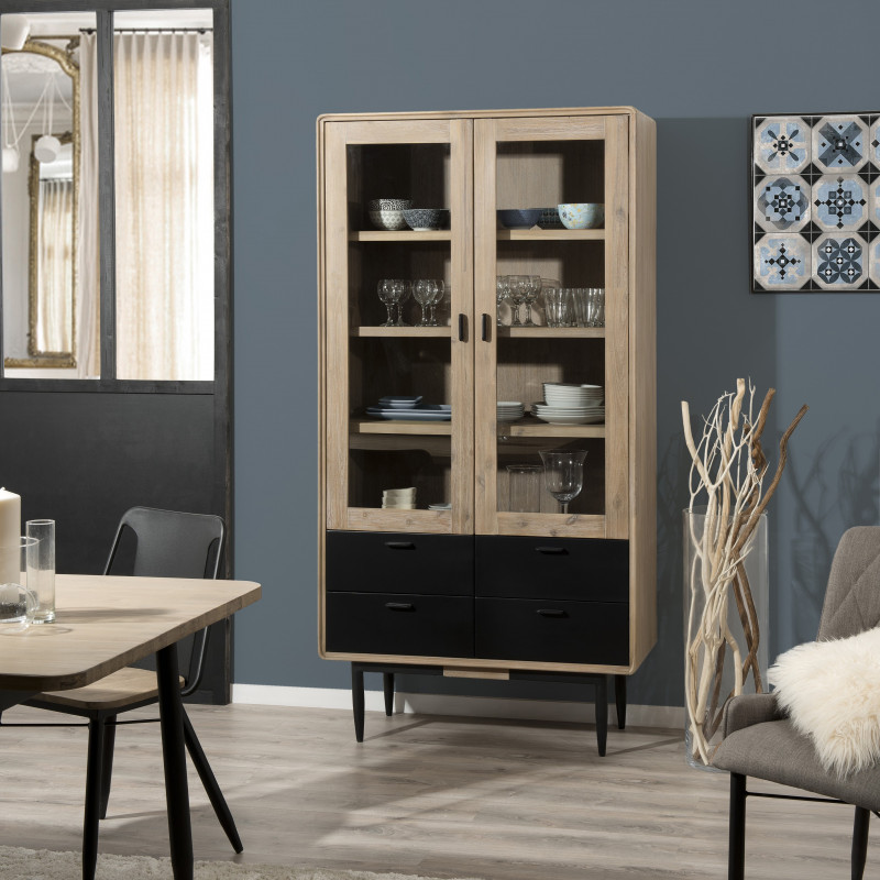 biblioth que vitr e industrielle noir et bois olana so inside. Black Bedroom Furniture Sets. Home Design Ideas