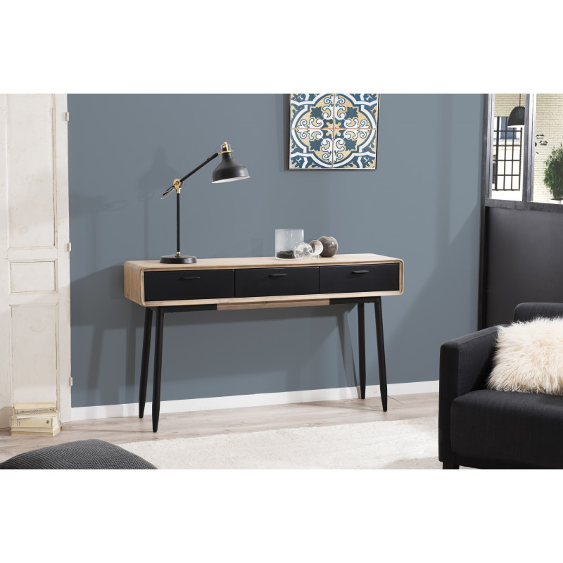 console industriel noir et bois olana so inside. Black Bedroom Furniture Sets. Home Design Ideas