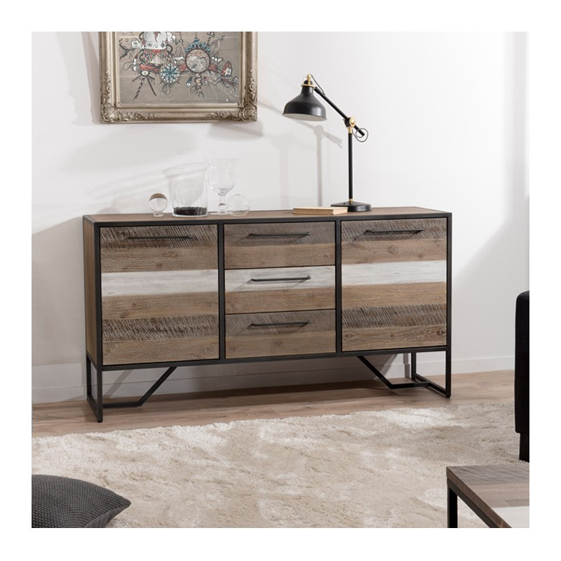buffet industriel bois bicolore et m tal l on so inside. Black Bedroom Furniture Sets. Home Design Ideas