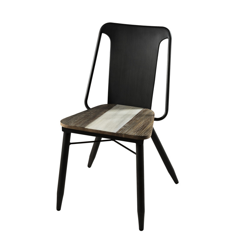 Chaise design industriel bois et m tal l on so inside - Chaise bois et metal ...