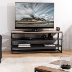 meuble tv en bois massif sur deux niveaux jule so inside. Black Bedroom Furniture Sets. Home Design Ideas