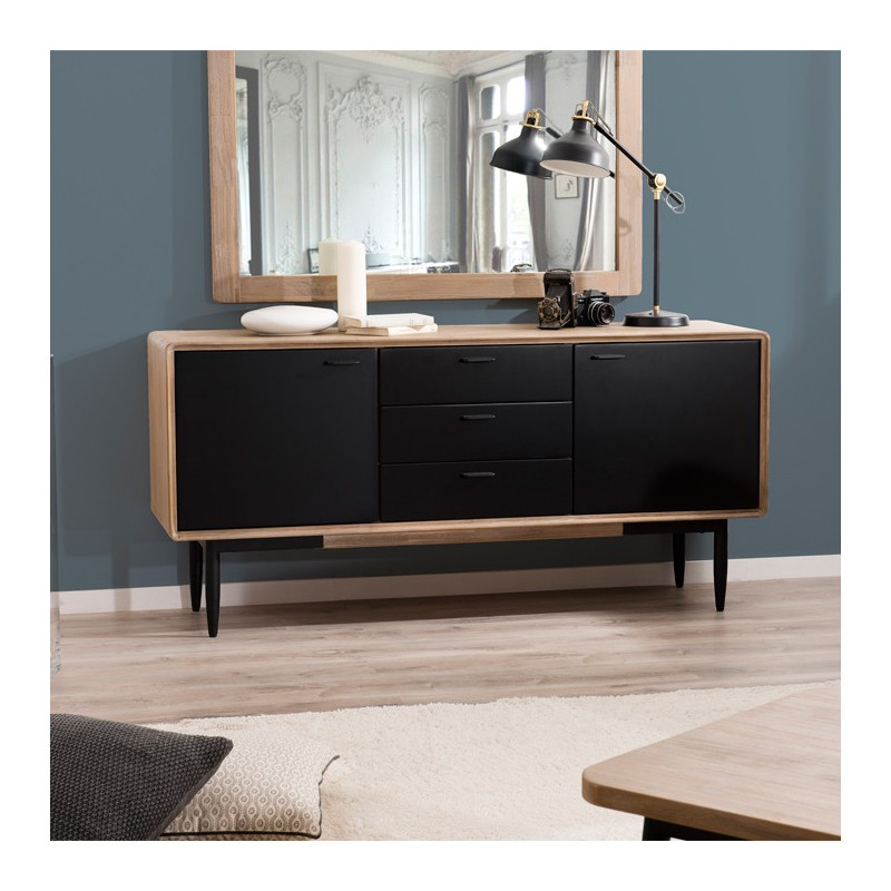 buffet industriel noir et bois olana so inside. Black Bedroom Furniture Sets. Home Design Ideas