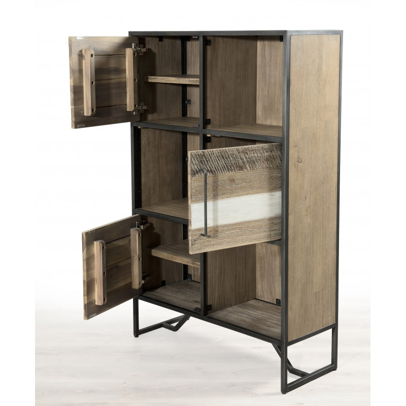 biblioth que industrielle bois et m tal pour un bel espace. Black Bedroom Furniture Sets. Home Design Ideas