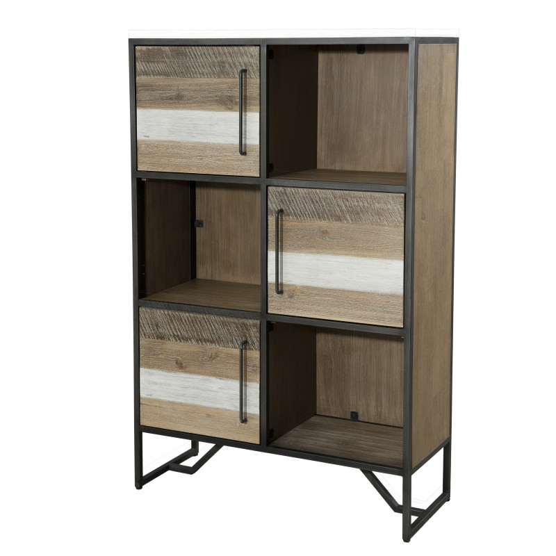 biblioth que industrielle bois et m tal leon so inside. Black Bedroom Furniture Sets. Home Design Ideas