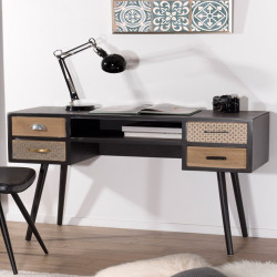 bureau d 39 angle gauche ou droit scandinave avec rangements malmo. Black Bedroom Furniture Sets. Home Design Ideas