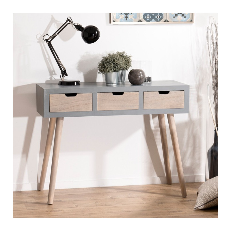 console scandinave 3 tiroirs effet b ton th a so inside. Black Bedroom Furniture Sets. Home Design Ideas