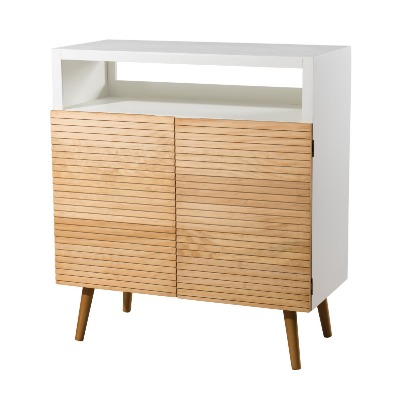 Buffet design scandinave bois et blanc ella so inside for Buffet blanc et bois