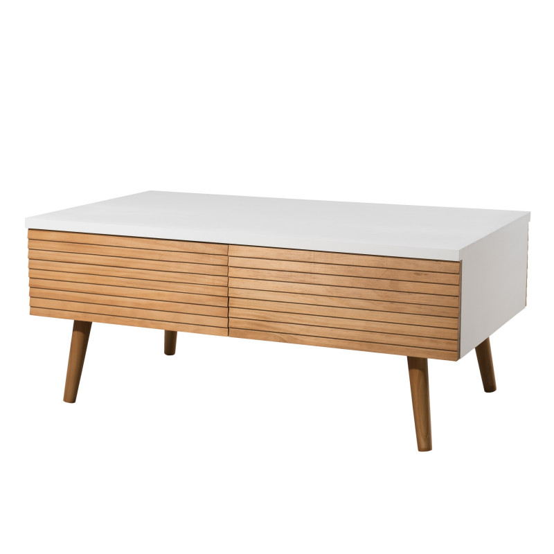 Table basse design scandinave bois et blanc ella so inside Table basse scandinave bois massif