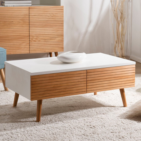 Table basse design scandinave bois et blanc Ella